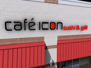 A 3D rendering of a proposed sign for Cafe Icon.