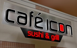 A 3D rendering of the approved sign for Cafe Icon.