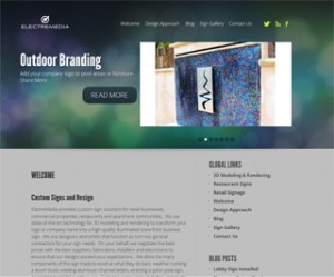 Screenshot of new theme for Electremedia using WordPress