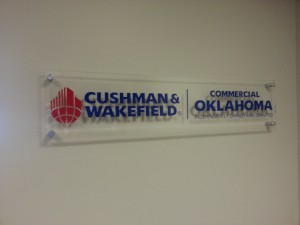 Picture of lobby sign made for Commercial Oklahoma.