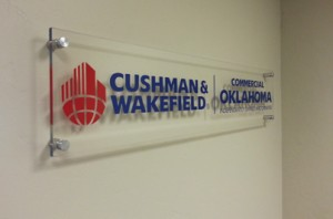 Image of lobby sign installed.