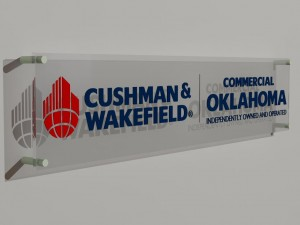 A 3D image of the proposed lobby sign design for Commercial Oklahoma.