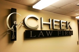 Photo of channel letter sign for law office.