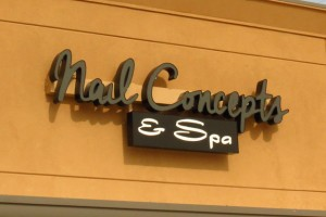 Picture of nail salon sign.