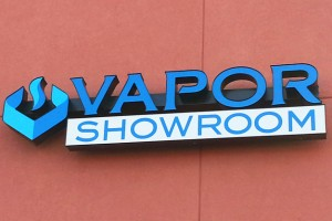 Picture of channel letter sign for vapor store.