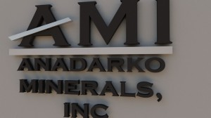 3d rendering of proposed sign for Anadarko Minerals.