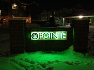 Channel letter sign for The Pointe.