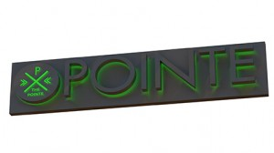 A rendering of a backlit sign with a green halo color.