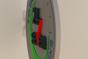A side view 3D rendering a proposed clock-like side mounted logo sign for a Greyhound bus station.