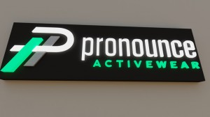 3d rendering for Pronounce Activewear sign.