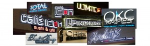 Image of multiple sign projects finished.