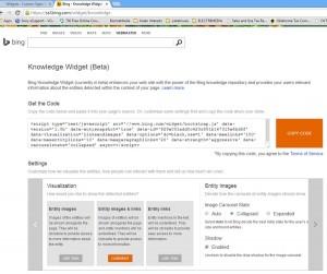 Screen shot of the Bing Knowledge Widget webpage.