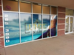 A picture of a 5 window vinyl mural.